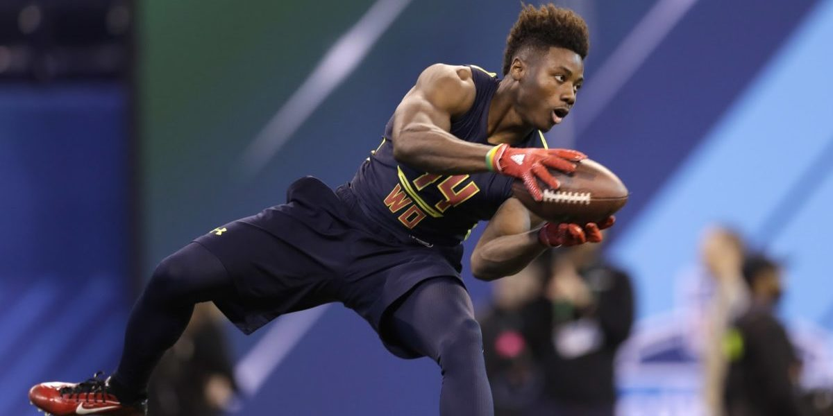 Curtis Samuel makes a catch during the NFL combine